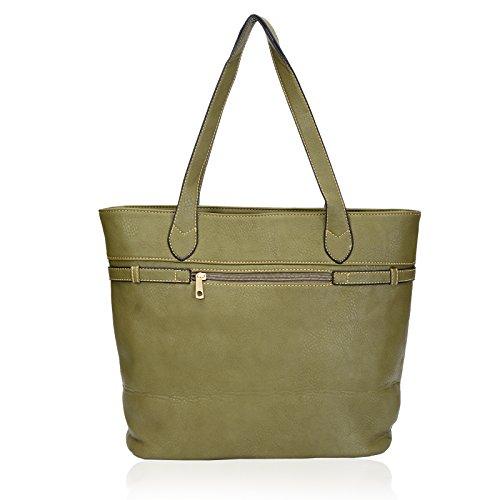 Faux Ladies Eyecatch Stylish Green Designer Leather Handbag Bag Tote Womens Weekend qU7OW76PE