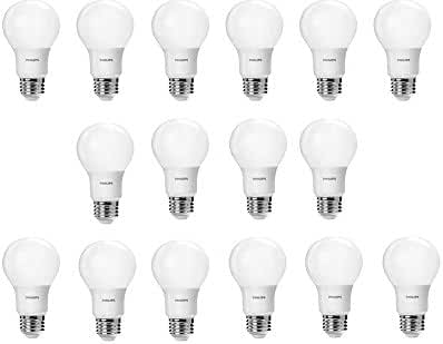 Philips 461129 60 Watt Equivalent Soft White A19 LED Light Bulb, 16-Pack