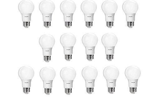 Ideal Standard White - Philips LED Non-Dimmable A19 Frosted Light Bulb: 800-Lumen, 2700-Kelvin, 8.5-Watt (60-Watt Equivalent), E26 Base, Soft White, 16-Pack