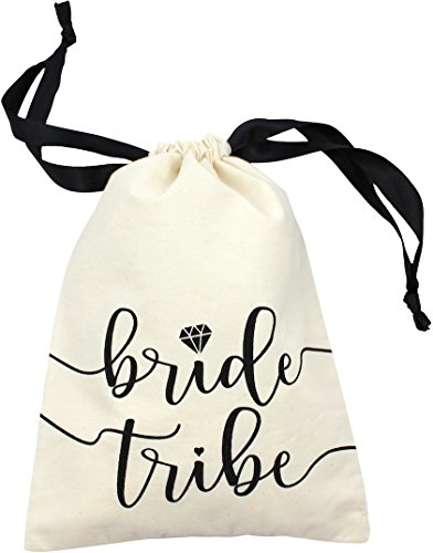 "10pc Bride Tribe Drawstring Bags w/Satin Ribbon, 7x5"" - Cotton Pouch for Bridesmaids, Bachelorette, Bridal Party, Bridal Shower, Wedding Favor, Survival Kit, Hangover Kit (10pc Pack, Natural & Black) ()"