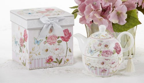 Delton Products Pink Grace Pattern Porcelain Tea for One with Matching Keepsake Box