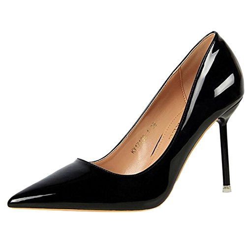 Femmes Stiletto Haut Talon A Souligné Les Chaussures De Soirée Chaussures De Soirée Sexy Simple en Cuir Verni Pompes Conseil Boîte De Nuit Mince Black JYdEQ