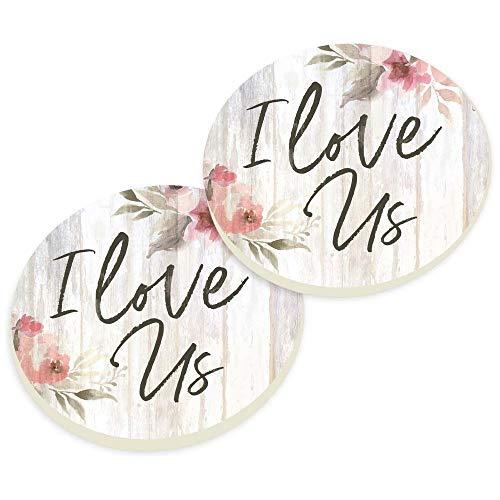 P. Graham Dunn I Love Us Flower Floral Pink 3 x 3 Absorbent Ceramic Car Coaster Pack of 2 ()