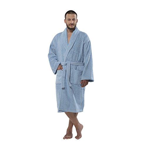 Terry Shawlcollar Men's Bathrobe 450 by Chesme (Medium, Blue) (Ringspun Terry Robe)