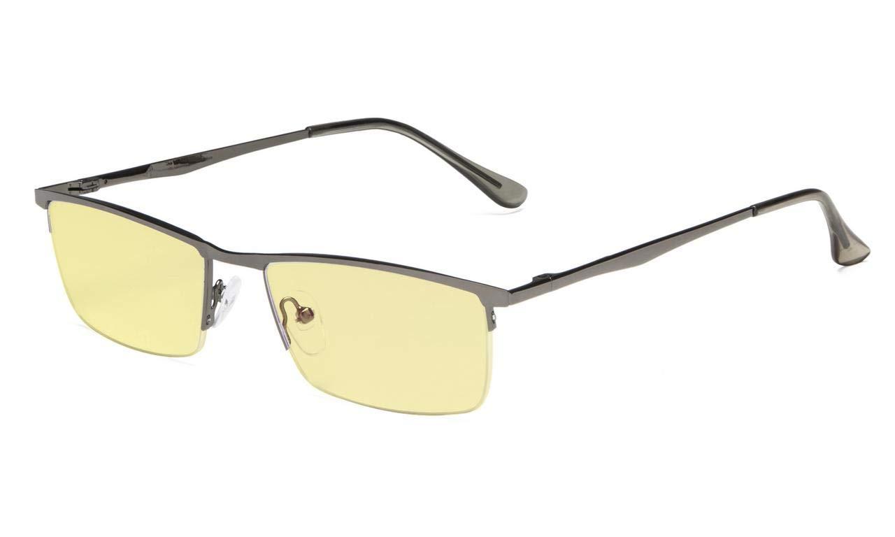 39f3f4991abcc Amazon.com  Eyekepper Blue Light Blocking Reading Glasses Half-Rim Computer  Readers Eyeglasses-Yellow Tinted Lens Reading Glasses (Gunmetal