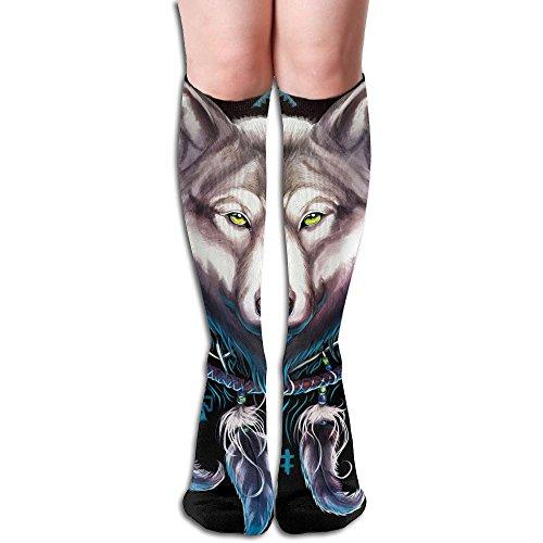 Wolf Dream Catcher Long Stockings Slim Crew Socks (Christmas Stockimgs)