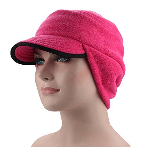 Outdoor Winter Warm Reversible Skull Cap Windproof Fleece Earflap Hat with Visor Rose Red
