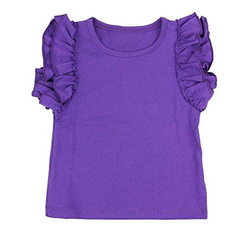 (Wennikids Little Girls' Double Ruffle Solid Tank Top Medium Purple)