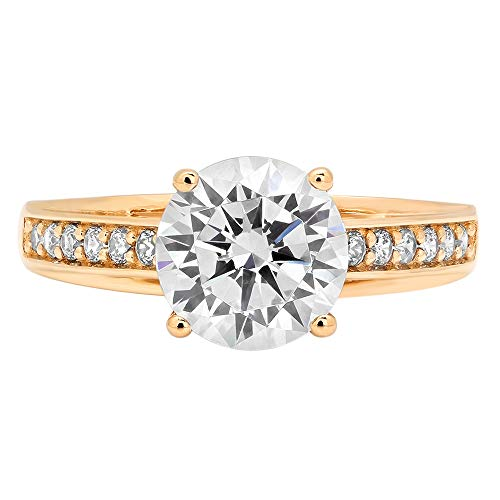 - 2.18ct Round Cut cathedral Solitaire Highest Quality White lab created Sapphire Ideal VVS1 D & Simulated Diamond Designer Modern Statement accent Ring Solid 14k Yellow Gold, Size 3.5 Clara Pucci