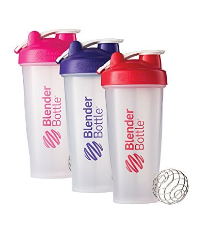 28 Oz. Hook Style Blender Bottle W/ Shaker Bundle-Clear Pink/Purple/Red