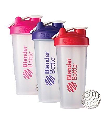 28 Oz. Hook Style Blender Bottle W/ Shaker Bundle-Clear Pink/Purple/Red