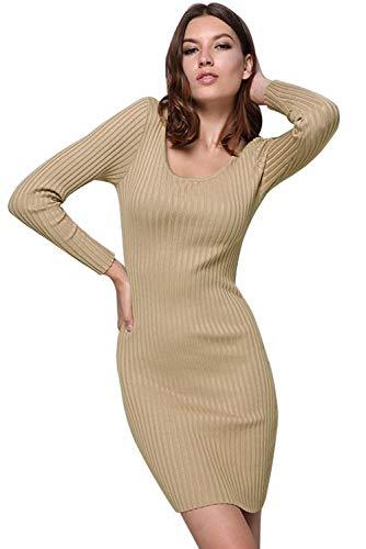 Elegantes Tops Larga Blusa Vestir Slim Punto Unicolor Invierno Casual Jersey de De Redondo Vintage Moda Mujer Sudadera Fit Ropa Punto Otoño Alinear Marfil Mini Camisetas de Cszz Cuello Vestido Manga Vestidos qITR11
