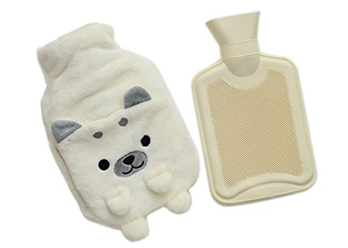 Happy Lily Medium Size Classic Rubber Hot Water Bottle with Cute Fleece Cover, Perfect for Quick Pain Relief and Comfort, 1 Liter - Best Gift for Christmas