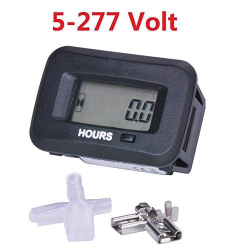 Searon Digital Hour meter of 12V 24V 36V 48V 110V 220V 230V AC/DC for ATV Lawn Mower Chainsaw Compressor Tiller Chipper Marine Farm Tractor Excavator