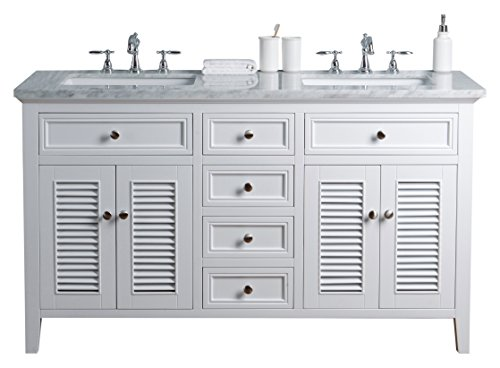 Stufurhome HD-1300W-60-CR Genevieve 60 inch White Vanity Cabinet w/Shutter Double Doors Dual Bathroom Sinks, 60