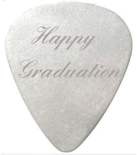 Happy Graduation Guitar Pick / Plectrum with black velvet gift pouch
