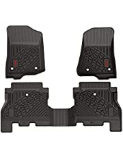 3W Floor Mats for Jeep Wrangler JL 2018 2019 2020 - Heavy Duty Protection Custom Fit Floor Liners All Weather Odorless TPE Car Floor Carpet 1st & 2nd Row for JL Limited 4 Doors (Not for JK), Black