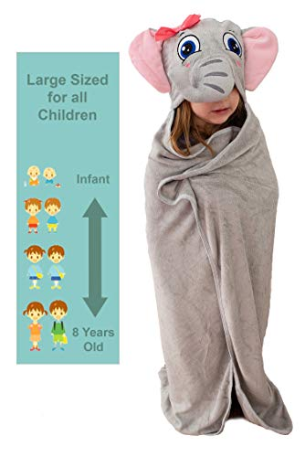 Ultra Soft Bamboo Hooded Baby Towel - Hooded Bath Towels with Ears for Babies, Toddlers - Large Baby Towel - Cute for Boys and Girls (Elephant)