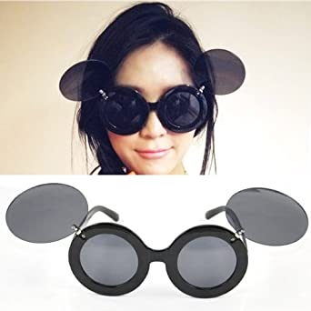 3508903638 Beyondfashion Vintage Ladies Mickey Mouse Flip Up Shades Sunglasses  Paparazzi Funny Glasses Gaga Party  Amazon.co.uk  Clothing