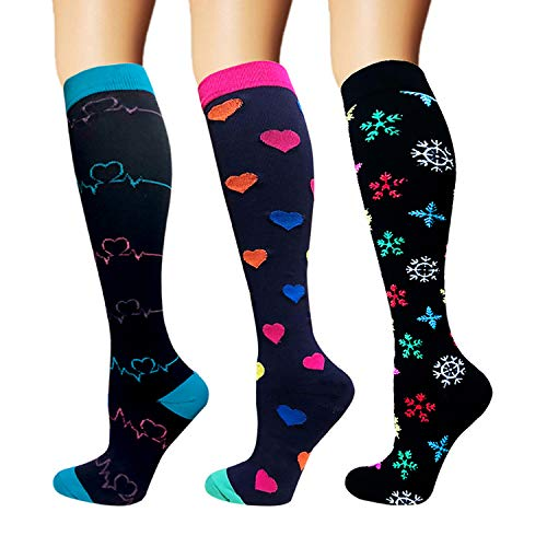 3/5 Pairs Compression Socks Women & Men - Best Medical,Nursing,Hiking,Travel & Flight Socks-Running & Fitness