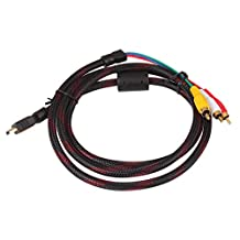 yan_5ft Braided HDMI Male to 3RCA Male A/V Extension Convert Composite Cable Nice