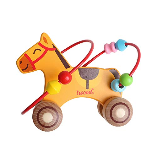 iwood Horse Bead Maze Roller Coaster Wooden Educational Circle Toys Gift Colorful Activity Center Game for Children Baby & Toddler Boys Girls 1 2 3 4 5 6 Year Old Toys