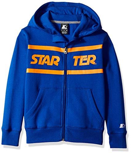 Starter Boys' Zip-Up Logo Hoodie, Amazon Exclusive, Team Blue with Team Orange, M -