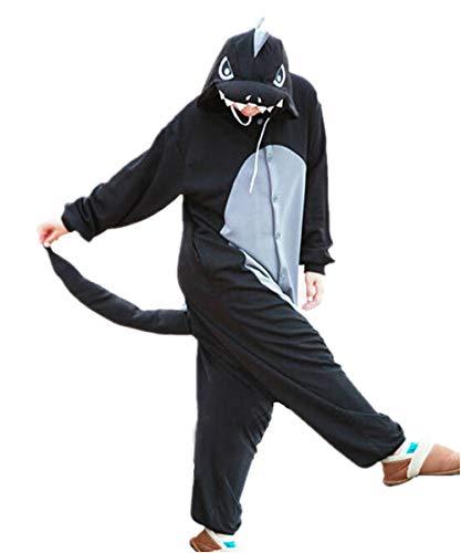 Lifeye Unisex Black Dragons Pajamas Adult Animal Cosplay Costume Black Hornless Size S