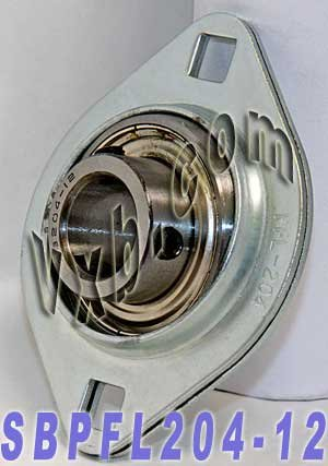SBPFL204-12 Flanged Mounted Bearing, 2 Bolt, 3/4