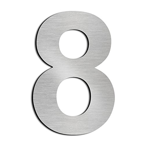 Brushed House Number 8 Eight-15.3cm 6in-Made of Solid 304 Stainless Steel, Floating Appearance, Easy to Install