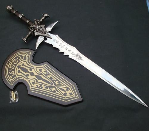 WOW S1703 Game Anime FROSTMOURNE ARTHAS MENETHIL Sword 1:1 Replica W/Plain Plaque 47″