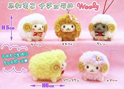 Amuse Fuwa-moko Natural Wooly Sheep Mini Strap Plush Collection Set by Fancy105 - Fuwa Plush
