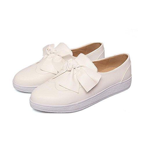 AgooLar Damen Rein PU Niedriger Absatz Rund Schließen Zehe Ziehen auf Pumps Schuhe Weiß