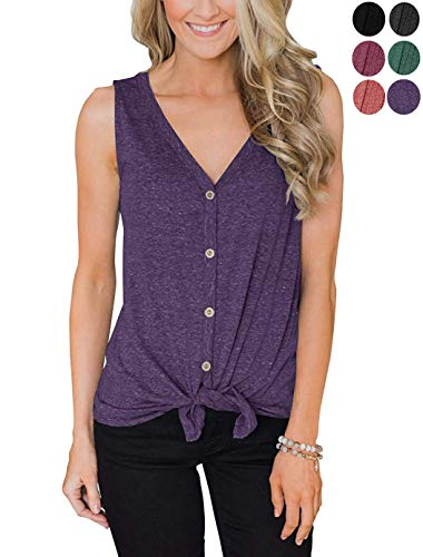 Womens Tie Front Shirts, Women's Button Down V Neck Strappy Tank Tops Sleeveless Casual Blouse (Purple, L) Button Down Sleeveless Jersey