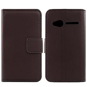 Gukas Design Genuino Cuero Case Para Alcatel One Touch POP D3 4035X Flip Billetera Funda Carcasa De Lujo Autentico Ranuras Tarjetas Cover Piel (Marron Oscuro)