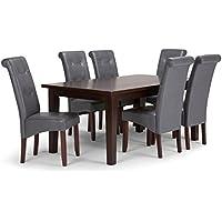 Simpli Home Cosmopolitan 7 Piece Dining Set, Stone Grey