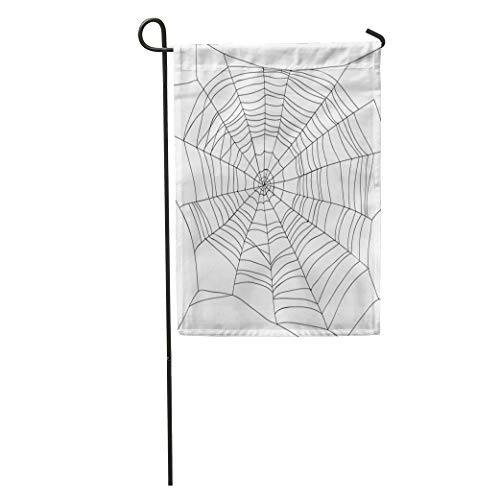 Semtomn Garden Flag Cobweb Abstract Drawing of Spiderweb on Spider Halloween Lace Algorithm Home Yard Decor Barnner Outdoor Stand 28x40 Inches Flag ()
