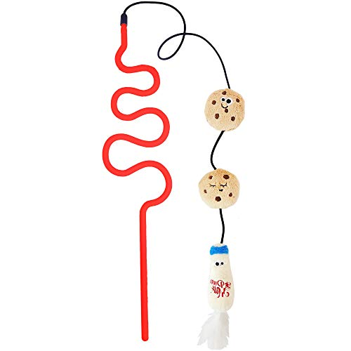 - Mad Cat Milk 'N' Cookies Wand Toy for Cats, One Size Fits All, Red/Tan