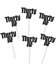 Thirty AF Cupcake Toppers in Black Glitter (20 count) - 30th 30 Anniversary Retirement Party Decorations
