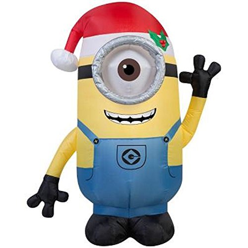 [Outdoor Christmas Inflatable 3.5 ft Minion Stuart with Santa Hat Blow up Lights Decoration] (Despicable Me Costume Walmart)