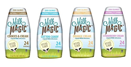 Milk Magic Liquid Milk Infusions Bundle (pack of 4): 1 Cookies & Cream, 1 Cotton Candy, 1 Orange Cream, & 1 Strawberry Cream