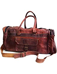 20 Mens Genuine Leather Duffel Gym Large Travel Weekend Sports Luggage Bag
