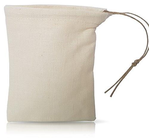 Organic Cloth Tea Bag - Kombucha Brewing Bag - Bulk Spice Bag - by Pinyon Products - Reusable, Natural, Unbleached, Environmentally Friendly - Hemp & Organic Cotton Blend - Loose Leaf Tea Infuser - Loose Cotton Blends