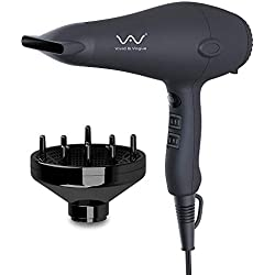 VAV 1875W Negative Ions Hair Dryer Lightweight Hair Blow Dryer with Diffuser Concentrator Cool shot button 2 Speed and 3 Heat Settings DC Motor Black