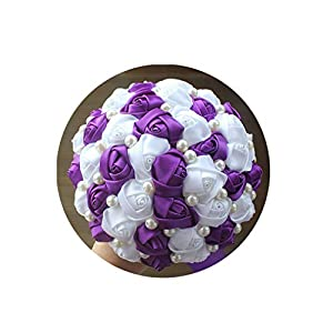 Artificial-Flowersbest Selling Pure Handmade Mint Green Ivory Pearl Beaded Bridal Bouquet Simple Hand Holding Bow Flowers Wedding Bouquet,Purple White 18Cm 21