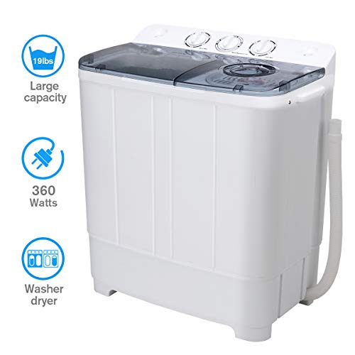 Washing Machine, Portable Mini Compact Twin Tub Washer Spin Dryer for Apartment/Dorm Rooms/RV's, 12Lbs Washer & 7Lbs Spin Capacity