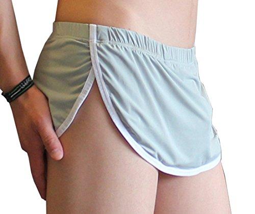 (JnZeBly Men Funny Sexy Split Skirt Arpon Design Thong G-Strings Panties Grey L)