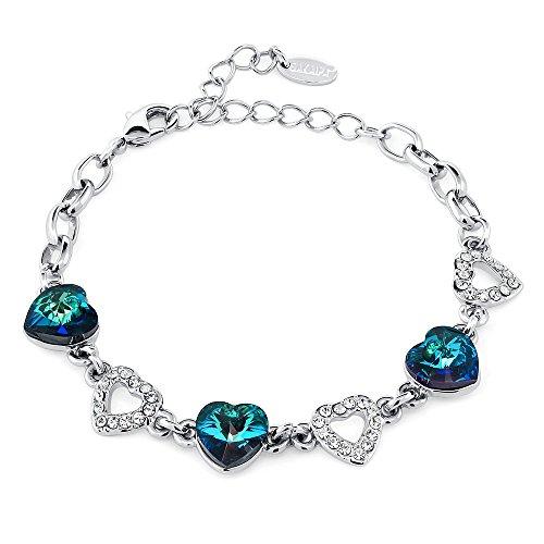 دستبند زیبای قلب سنگ برمودا سنگ زیبا ، برمودا ساخته شده با کریستال Swarovski