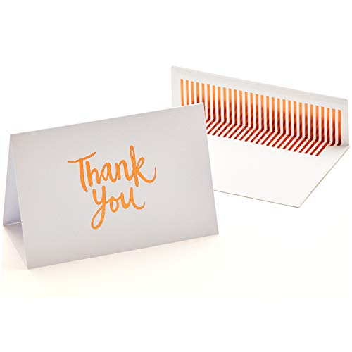 50 Luxury Thank You Cards and Self Seal Envelopes - Copper Foil Design with Matching Envelopes - Premium Heavyweight Card Stock with Hammered Texture - 4x6 Photo Size - Hayley ()