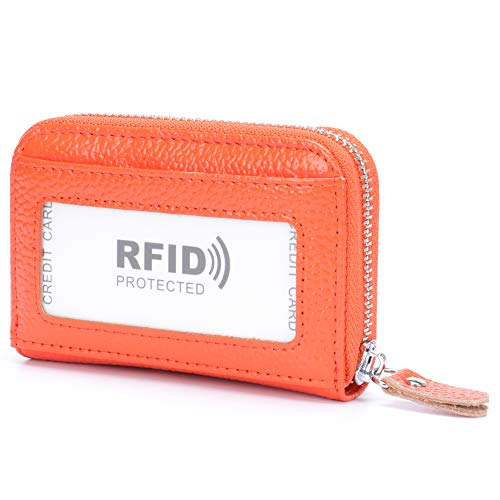 d097d6e8883d MuLier Genuine Leather RFID Blocking ID Window Credit Card Holder Mini  Wallet (Orange)